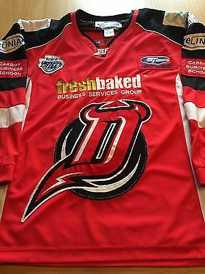 Cardiff Devils Game Worn Ice Hockey Jersey Shirt Finnerty Now Braehead Clan