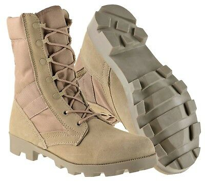 Men's 9 Inch Desert Tan Military Style Combat Work Boots with Side Zipper