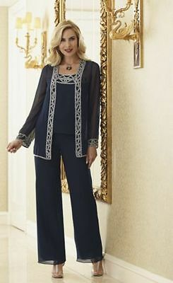 Mother of the Bride Groom Wedding Party Dinner Evening Hand Beaded Pant Suit Set