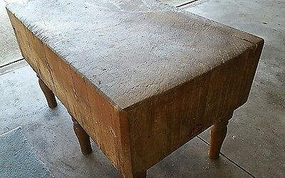 Extremely Heavy Antique Farmhouse Solid Wood Butcher Block Table. Local Pickup
