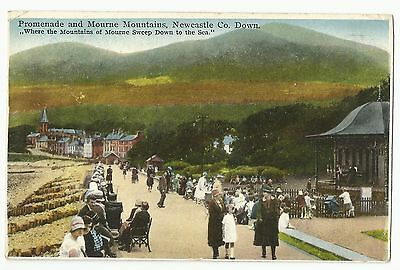 Old Postcard Promenade & Mourne Mountains' Newcastle Co Down 1932