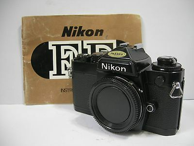 NIKON FE 35mm BLACK FILM CAMERA BODY WITH NEW SEALS TESTED EXCELLENT w manual