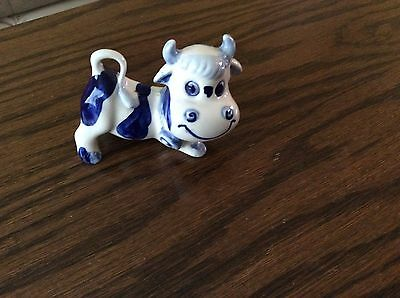 Blue and White Hand Painted Cow