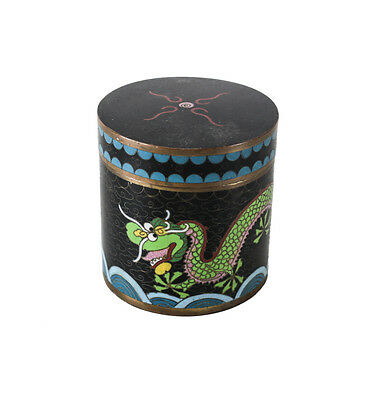 Chinese Cloisonne Tea Caddy Box with Five toed Dragon design Unmarked c 1920
