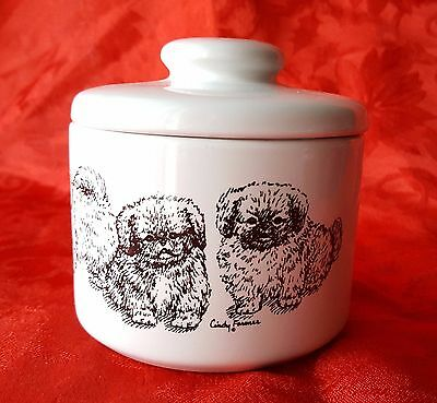 PEKINGESE Puppies Porcelain Jar Treat Bowl Gift Dog Lover Cindy Farmer