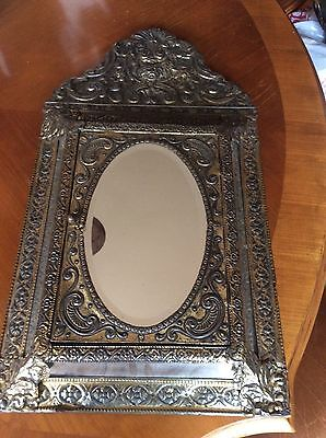 Antique Victorian brass Embossed Wall Mirror Cabinet with hinged cabinet door