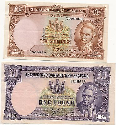 The Reserve Bank of New Zealand One Pound & Ten Shillings Notes
