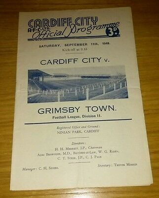 Cardiff City v Grimsby Town  11/9/48
