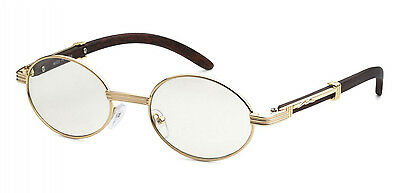 Mens CLASSY Style Clear Lens EYE GLASSES Wooden Print Square Or Oval Gold Frame