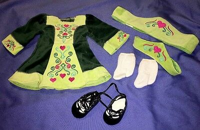 American Girl Nellie Irish Dance Outfit with Ghillies, Socks, Both Headbands!