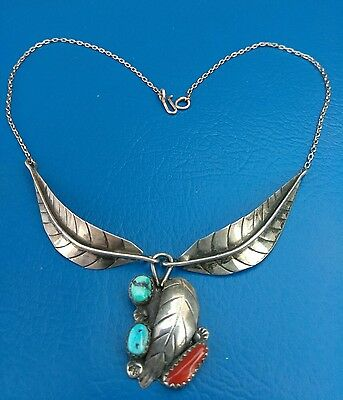 VTG Sterling Silver - NAVAJO Signed Turquoise Coral Feather Pendant Necklace -8g