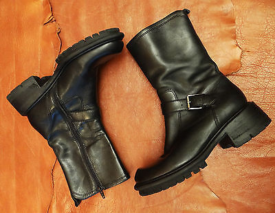 90s Vintage Ankle Boots Black Leather Motorcycle Boots Size 7 Nine west