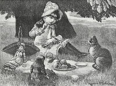 Cat Pretty Tabby Joins Tea Party with Girl & Dolls, Large 1880s Antique Print