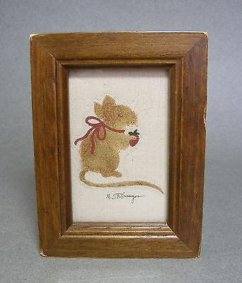 Nancy Stillwagon Miniature Painting on Fabric of Country Mouse w/ Strawberrry