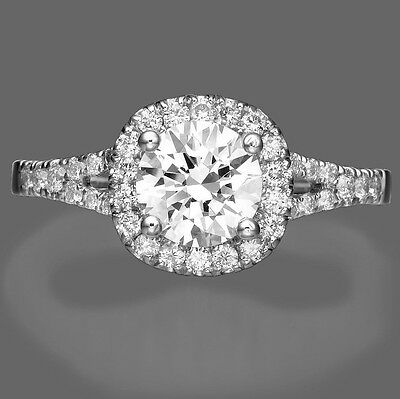 1 Ct F/SI Solitaire Round Cut Diamond Engagement Ring 14K White Gold Enhanced