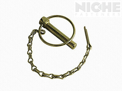 "Lynch Pin 1/4"" x 1-3/8"" w/Chain and Cotter Carbon Steel ZY (20 Pieces)"