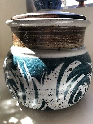 Victoria LIttlejohn Vintage Pottery Blue and White Signed with Cork & Wood Lid