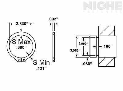 Snap Retaining Ring External 3-1/16 Spring Steel ZY (7 Pieces)