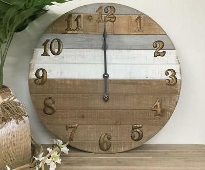 Large wooden Hamptons style wall clock coastal rustic designer home decor 60 cm