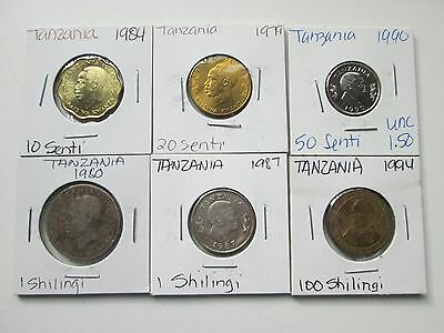 TANZANIA:  7 coins, 1979-1994, Circulated to Uncirculated,  Carded