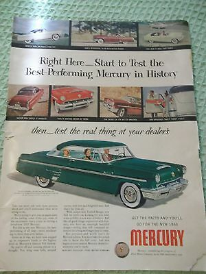 "LIFE automotive AD for 1953 Mercury car ""best performing Mercury in history"""