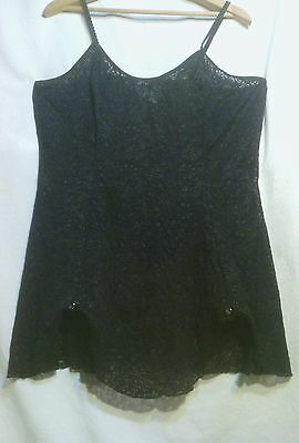 Image Plus Black Lace Scalloped Hem Baby Doll, 2X (20-22W) Canadian Made