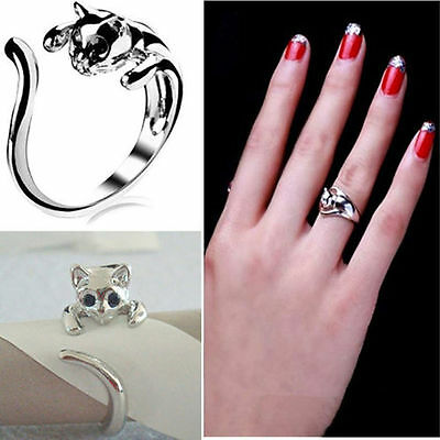 Exquisite Jewelry Womens Silver Plated Cat Shaped Ring With Crystal Eyes lj