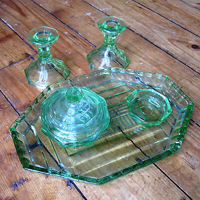 Green Depression Glass Art Deco Dressing Table Set 2 Candlesticks Tray Pots