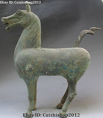 """14"""" Old Ancient Chinese Dynasty Palace Bronze 12 Zodiac Year Horse Animal Statue"""