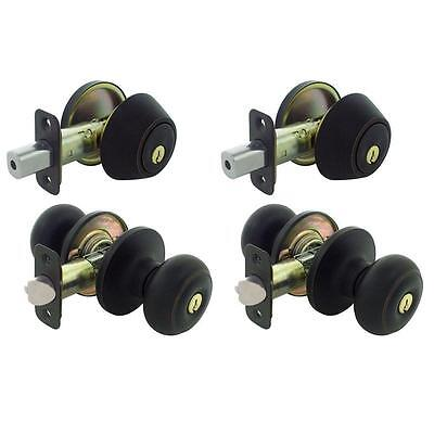 Keyed Entry Home Front Door Knob Lock Deadbolt Combo Security Set 2 Pack Bronze