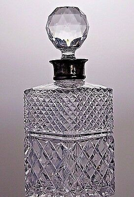Antique Crystal Unique Cut Crystal Whisky Decanter Sterling Silver Collar
