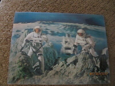 Vintage 3D Lenticular Postcard Lunar Module and Astronauts on Moon