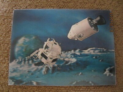 Vintage 3D Lenticular Postcard Lunar Module-Service and Command Module In Space