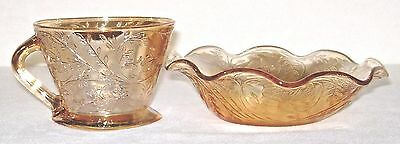 Vintage 1950's Jeannette Floragold Louisa Iridescent Cup & Ruffled Bowl