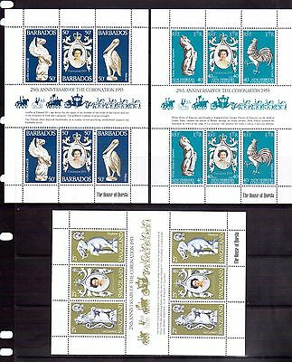 SWAZILAND BARBADOS & NEW CALEDONIA 1978 QE2 Silver Jubilee M/S MNH