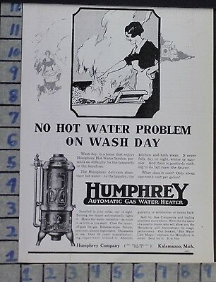 1919 Humphrey Gas Water Heater Dishes Kitchen Home Decor Vintage Art Ad  Cy63