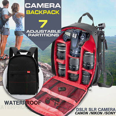 Waterproof DSLR Camera Backpack Shoulder Bag Case For Canon For Nikon For Sony