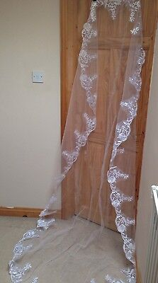Bridal Veil 1tier Cathedral Length white Embroidered