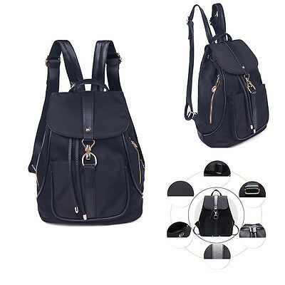 Women's Canvas Backpack Travel Handbag Shoulder School Satchel Book Bag Black
