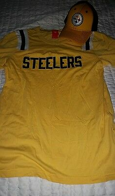 Pittsburgh steelers Shirt L Hat Med large