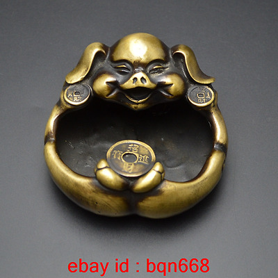 Old China Fengshui Bronze Lovely Pig Writing-brush washer & Ashtray Statue