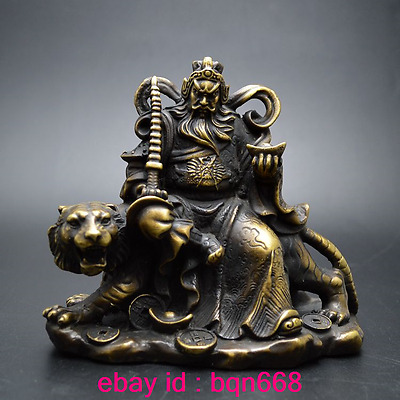 Old China Fengshui Bronze Wealth God Zhaogongming Riding a tiger Statue