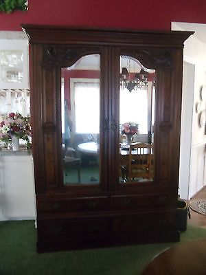 Antique English 1800's Armoire Beveled Glass 2 Door 4 Drawer Clothes Hangers