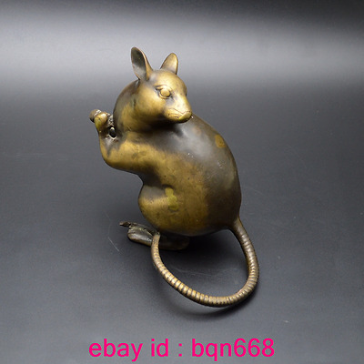Old China Fengshui Bronze Chinese Zodiac rat Mouse Wealth Statue