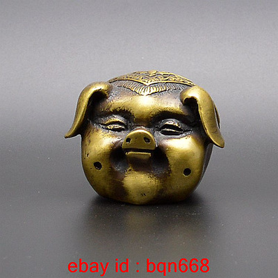 Old China Fengshui Bronze PigHead Bats Coins Pattern Exquisite Statue