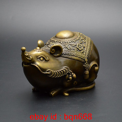 Old China Fengshui Bronze Chinese Zodiac rat Mouse Rich Wealth Statue
