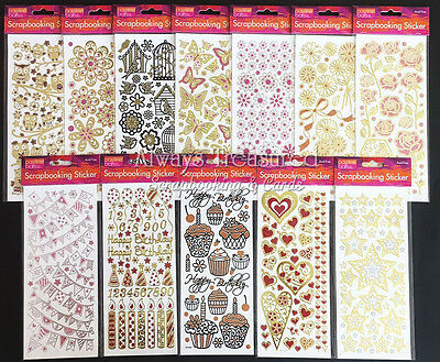 Foil Glitter Stickers ~ 18 Design Options Craft Card Scrapbooking Birthday