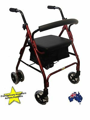 "Compression Walker Rollator 6"" Wheels Aluminium Frame Weight Activated Brakes"