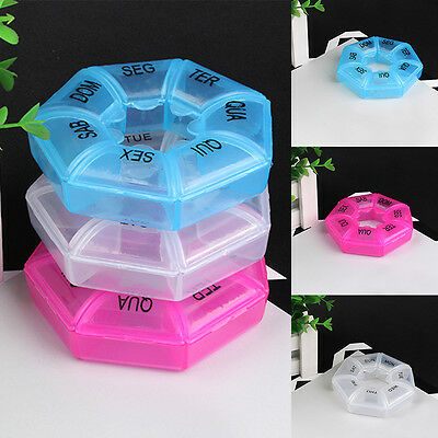 7 Day Weekly Round Box Medicine Tablet Case Container Storage Holder 3 colors