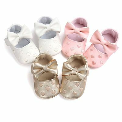 0-18M Baby Girl Prewalkers Bowknot Crib Pram Shoes Kids Soft Sole Shoes Sneakers